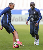 N'Golo Kante (Chelsea) & former West Ham player Dimitri Payet (left) of France during the France National Team Training session ahead of the match with England tomorrow evening at Stade de France, Paris, France on 12 June 2017. Photo by David Horn / PRiME Media Images.