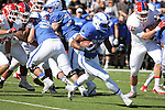 October 24, 2015 - Colorado Springs, Colorado, U.S. - Air Force running back, Benton Washington #24, breaks free for a long gain during the NCAA Football game between the Fresno State Bulldogs and the Air Force Academy Falcons at Falcon Stadium, U.S. Air Force Academy, Colorado Springs, Colorado.  Air Force defeats Fresno State 42-14.