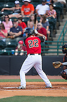 Chuck Moorman (22) of the Hickory Crawdads at bat against the Delmarva Shorebirds at L.P. Frans Stadium on June 18, 2016 in Hickory, North Carolina.  The Crawdads defeated the Shorebirds 1-0 in game one of a double-header.  (Brian Westerholt/Four Seam Images)
