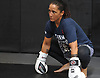 Female mixed martial arts fighter Jennie Nedell trains gets ready for a sparring session at Longo-Weidman MMA in Garden City on Friday, July 7, 2017.