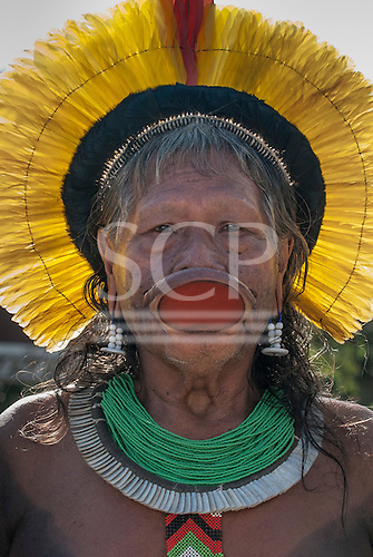 Kayapo Chief Raoni Txucarrhamae with yellow headress. The People's Summit at the United Nations Conference on Sustainable Development, Rio de Janeiro, Brazil, 16th June 2012.