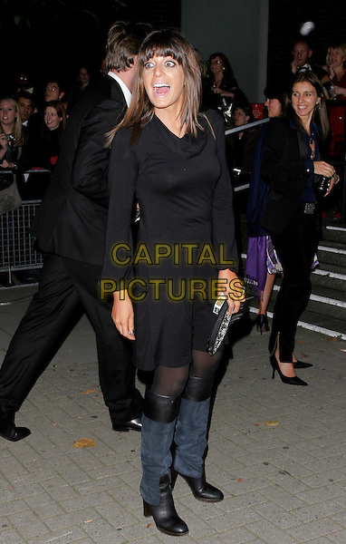CLAUDIA WINKLEMAN.Leaving The National Television Awards 2006 held at the Royal Albert Hall, London, UK. .October 31st, 2006.Ref: AH.full length black dress blue boots mouth open.www.capitalpictures.com.sales@capitalpictures.com.©Adam Houghton/Capital Pictures.
