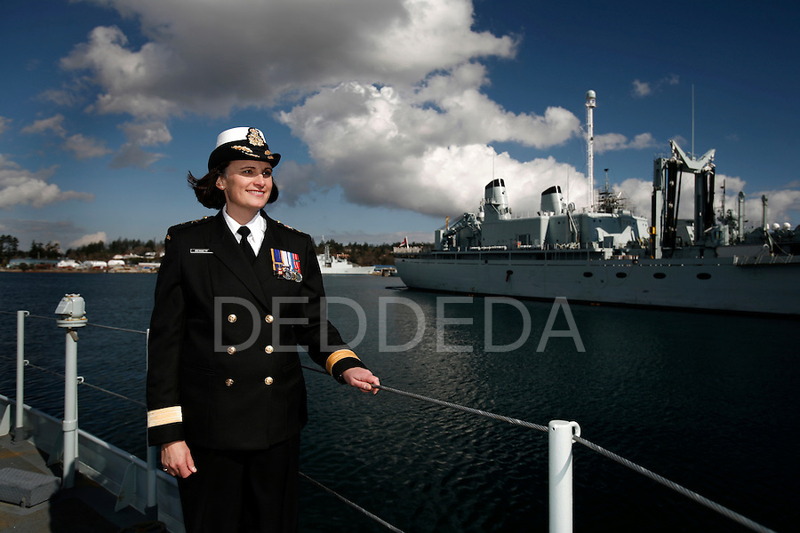 Commodore Jennifer Bennett at CFB Esquimalt in Victoria, British Columbia, Canada. Bennett became the first female commander of a formation in the Canadian Navy. Photo assignment for Canadian Living magazine.