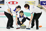 (L to R) Chikaki Matsumura, Miyo Ichikawa, Emi SHImizu (Chuden), SEPTEMBER 16, 2013 - Curling : Olympic qualifying Japan Curling Championships Women's Final third Mach between Fortius 11-6 Chuden at Dogin Curling Studium, Sapporo, Hokkaido, Japan. (Photo by Yusuke Nakanishi/AFLO SPORT)