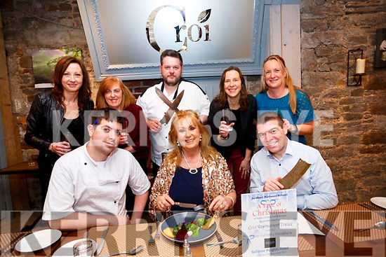 Parents Council of Ardfert NS launches the Taste of Christmas at Croí Restaurant,The Square Tralee on Thursday evening. Front l-r: Kevin Cotter (Chef), Betty Stack (principal Ardfert NS) and Kevin O'Connor (Croi Restaurant). Back l-r: Marie O'Connell, Cecile O'Callaghan,Noel Keane (Croi Restaurant), Geraldine Lennon and Antoinette Wiseman.