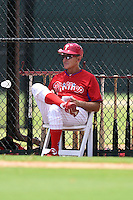 GCL Phillies manager Roly de Armas during a game against the GCL Pirates on June 26, 2014 at the Carpenter Complex in Clearwater, Florida.  GCL Phillies defeated the GCL Pirates 6-2.  (Mike Janes/Four Seam Images)