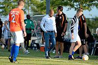 NIEUW BUINEN - Voetbal , Nieuw Buinen - FC Groningen, voorbereiding seizoen 2018-2019, 04-07-2018,  een balende FC Groningen trainer Danny Buijs