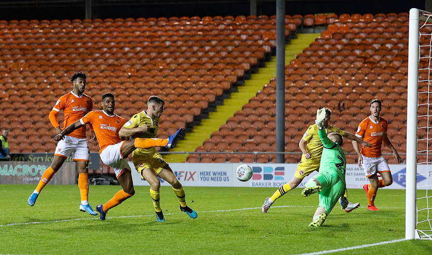Blackpool's Michael Nottingham scores his side's second goal <br /> <br /> Photographer Alex Dodd/CameraSport<br /> <br /> EFL Leasing.com Trophy - Northern Section - Group G - Blackpool v Morecambe - Tuesday 3rd September 2019 - Bloomfield Road - Blackpool<br />  <br /> World Copyright © 2018 CameraSport. All rights reserved. 43 Linden Ave. Countesthorpe. Leicester. England. LE8 5PG - Tel: +44 (0) 116 277 4147 - admin@camerasport.com - www.camerasport.com