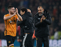 Wolverhampton Wanderers' Matt Doherty (left) and Nuno Espirito Santo (right) fans applaud their team at the final whistle <br /> <br /> Photographer David Horton/CameraSport<br /> <br /> The Premier League - Bournemouth v Wolverhampton Wanderers - Saturday 23rd November 2019 - Vitality Stadium - Bournemouth<br /> <br /> World Copyright © 2019 CameraSport. All rights reserved. 43 Linden Ave. Countesthorpe. Leicester. England. LE8 5PG - Tel: +44 (0) 116 277 4147 - admin@camerasport.com - www.camerasport.com