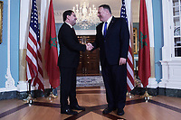 Washington, DC - October 22, 2019: U.S. Secretary of State Michael Pompeo meets with Moroccan Foreign Minister Nasser Bourita at the State Department in Washington October 22, 2019. (Photo by Lenin Nolly/Media Images International)