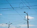 Overhead trolly and electrical lines, Street photography along Aleksandra Bulivard, Belgrade, Serbia