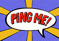 The phrase Ping Me in speech bubble