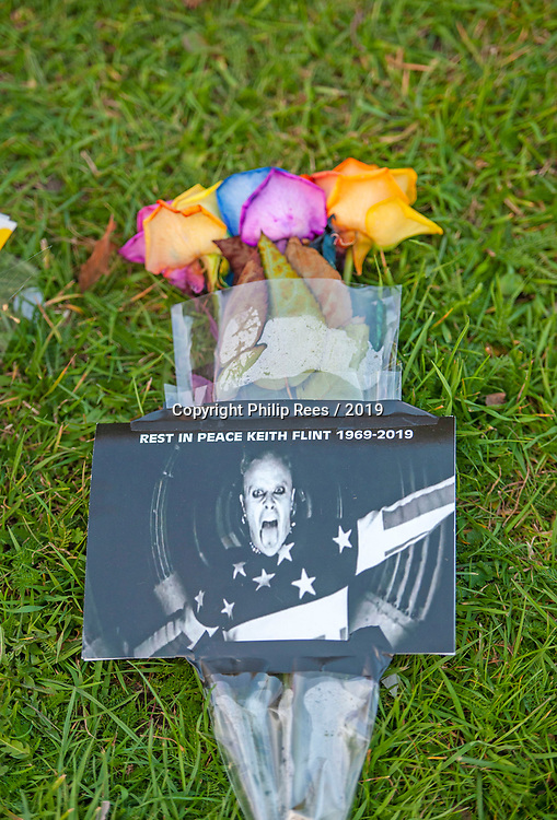 Floral tributes in the church grounds after the funeral of Prodigy singer Keith Flint at St Marys Church in Bocking,  Essex today.