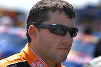 Apr 28, 2007; Talladega, AL, USA; Nascar Nextel Cup Series driver Tony Stewart (20) during qualifying for the Aarons 499 at Talladega Superspeedway. Mandatory Credit: Mark J. Rebilas