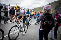 World Champion Alejandro Valverde (ESP/Movistar) 2 km from the finish in Val thorens<br /> <br /> shortened stage 20: Albertville to Val Thorens (59km in stead of the original 130km due to landslides/bad weather)<br /> 106th Tour de France 2019 (2.UWT)<br /> <br /> ©kramon