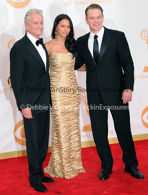 Matt Damon, Luciana Barroso, Michael Douglas attends 65th Annual Primetime Emmy Awards - Arrivals held at The Nokia Theatre L.A. Live in Los Angeles, California on September 22,2012                                                                               © 2013 DVS / Hollywood Press Agency