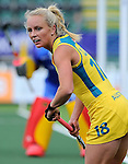 The Hague, Netherlands, June 05: Jane Claxton #18 of Australia looks on during the field hockey group match (Women - Group A) between Belgium and Australia on June 5, 2014 during the World Cup 2014 at Kyocera Stadium in The Hague, Netherlands. Final score 2:3 (1:1) (Photo by Dirk Markgraf / www.265-images.com) *** Local caption ***