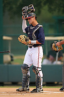Atlanta Braves catcher Nick DeSantiago #46 during an Instructional League game against the Houston Astros at Wide World of Sports on September 28, 2011 in Kissimmee, Florida.  (Mike Janes/Four Seam Images)