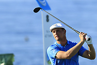 Bryson DeChambeau (USA) tees off the 8th tee during Sunday's Final Round of the 2018 AT&amp;T Pebble Beach Pro-Am, held on Pebble Beach Golf Course, Monterey,  California, USA. 11th February 2018.<br /> Picture: Eoin Clarke | Golffile<br /> <br /> <br /> All photos usage must carry mandatory copyright credit (&copy; Golffile | Eoin Clarke)