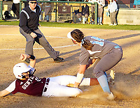 Westside Eagle Observer/RANDY MOLL<br /> After hitting a double to right field, Malea Wilson got caught trying to steal third base during play in Gentry against Har-Ber High School on Thursday, March 5, 2020.