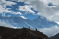 Mani stones, stupas and Everest, Lhotse, Nuptse in the background.