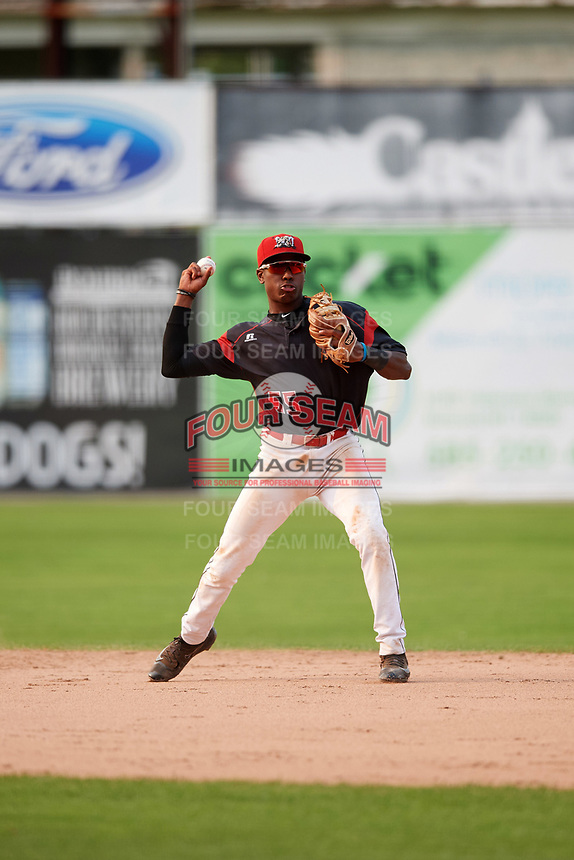 Batavia Muckdogs second baseman Demetrius Sims (55) throws to first base during the second game of a doubleheader against the Mahoning Valley Scrappers on September 4, 2017 at Dwyer Stadium in Batavia, New York.  Mahoning Valley defeated Batavia 6-2.  (Mike Janes/Four Seam Images)