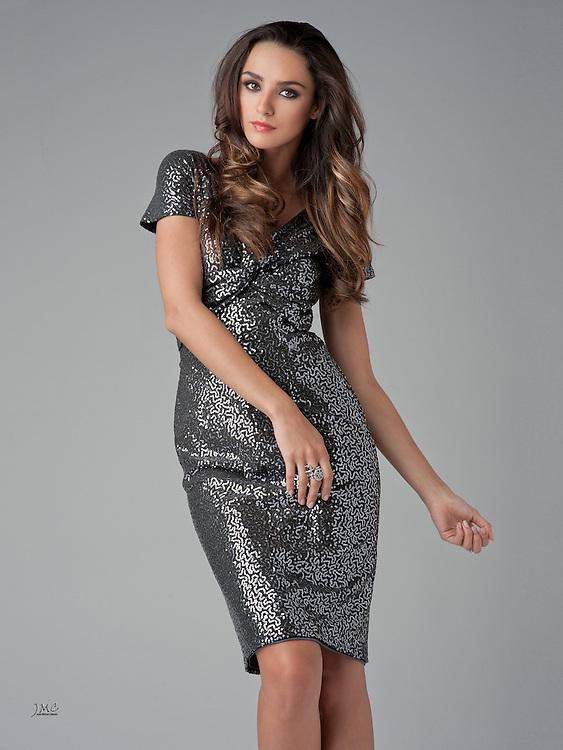 Beautiful brunette fashion model in black & silver dress