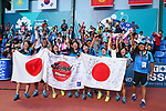 Japan team group (JPN),<br /> SEPTEMBER 1, 2018 - Soft Tennis : <br /> Women's Team  Final<br /> at Jakabaring Sport Center Tennis Courts <br /> during the 2018 Jakarta Palembang Asian Games <br /> in Palembang, Indonesia. <br /> (Photo by Yohei Osada/AFLO SPORT)
