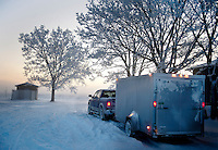 Snow and frost cover everything on a crisp and early morning departure for duck hunting near Grand Island, Nebraska, Sunday, December 4, 2011. ..Photo by Matt Nager