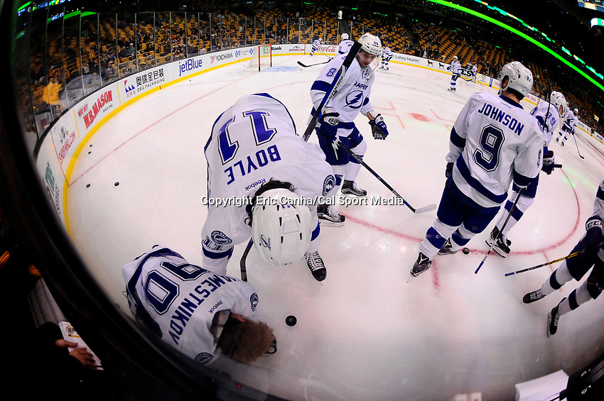 Sunday, November 27, 2016: Tampa Bay Lightning center Vladislav Namestnikov (90) is helped up by center Brian Boyle (11) during warm up period at the National Hockey League game between the Tampa Bay Lightning and the Boston Bruins held at TD Garden, in Boston, Mass. Boston defeats Tampa Bay 4-1. Eric Canha/CSM