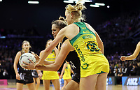 18.10.2018 Silver Ferns Te Paea Selby-Rickit and Australia's Jo Weston in action during the Silver Ferns v Australia netball test match at the TSB Arena in Wellington. Mandatory Photo Credit ©Michael Bradley.