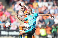 Blackpool's Kyle Vassell in action with Fleetwood Town's Nathan Pond<br /> <br /> Photographer Mick Walker/CameraSport<br /> <br /> The EFL Sky Bet League One - Blackpool v Fleetwood Town - Saturday 14th April 2018 - Bloomfield Road - Blackpool<br /> <br /> World Copyright &copy; 2018 CameraSport. All rights reserved. 43 Linden Ave. Countesthorpe. Leicester. England. LE8 5PG - Tel: +44 (0) 116 277 4147 - admin@camerasport.com - www.camerasport.com
