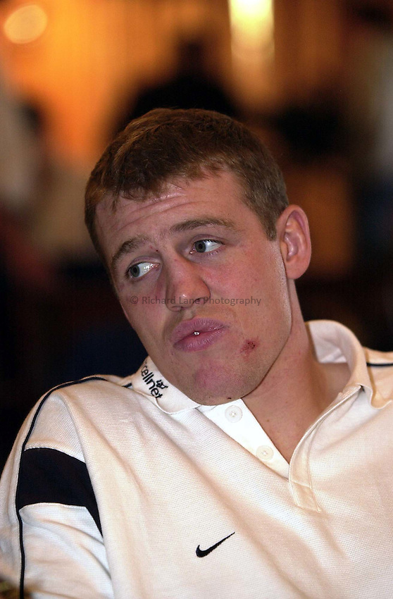 Photo. Richard Lane. .England Team Announcement at Pennyhill Hotel, Bagshot. 26-2-2002.Mike Tindall