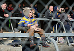A young Clare fan urges on his side during their National Hurling League game against Dublin at Cusack Park. Photograph by John Kelly.