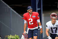 July 26, 2018: New England Patriots quarterback Brian Hoyer (2) heads to practice at the New England Patriots training camp held on the practice fields at Gillette Stadium, in Foxborough, Massachusetts. Eric Canha/CSM
