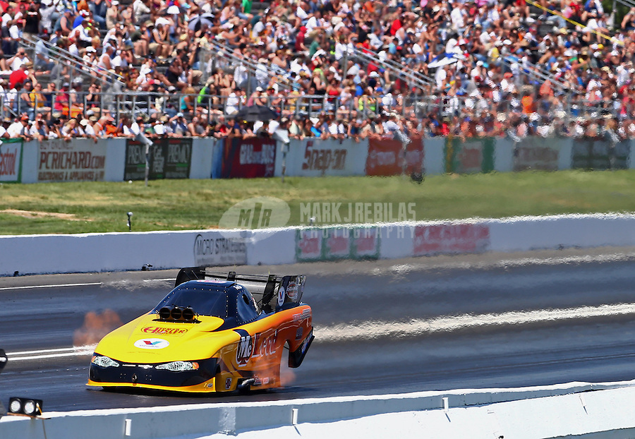 Jun. 1, 2013; Englishtown, NJ, USA: NHRA funny car driver Paul Lee during qualifying for the Summer Nationals at Raceway Park. Mandatory Credit: Mark J. Rebilas-
