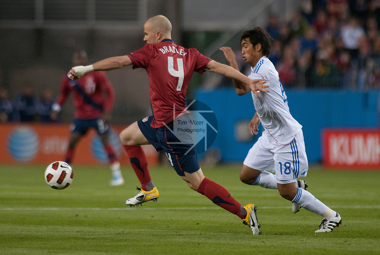 March 29,  2011     USA midfielder Michael Bradley (4 ) races ahead of Paraguay midfielder Marcelo Estigarribia (18) in the first half. Paraguay defeated the USA Men's National Soccer Team 1-0 in an international friendly game on Tuesday March 29, 2011 at LP Field in Nashville, Tennessee.
