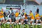 Paul O'Connor South Kerry in action against Jamie O'Sullivan Legion at the Kerry County Senior Football Final at Fitzgerald Stadium on Sunday.