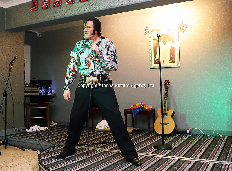 Pictured: An Elvis Presley impersonator performs at the Brentwood Hotel, which has been renamed to Heartbreak Hotel for the festival. Friday 22 September 2017<br />Re: Porthcawl Elvis Festival 2017, at the seaside town in Wales, UK