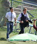 9-22-09.  Exclusive...Simon Baker filming a scene for the tv show The Mentalist at a baseball field in Chatsworth California. During the scene Simon holds up a baseball &  a coach tries to fight Simon by grabbing his vest. ...AbilityFilms@yahoo.com.805-427-3519.www.AbilityFilms.com