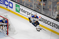 June 6, 2019: St. Louis Blues defenseman Jay Bouwmeester (19) and goaltender Jordan Binnington (50) in game action during game 5 of the NHL Stanley Cup Finals between the St Louis Blues and the Boston Bruins held at TD Garden, in Boston, Mass. The Blues defeat the Bruins 2-1 in regulation time. Eric Canha/CSM