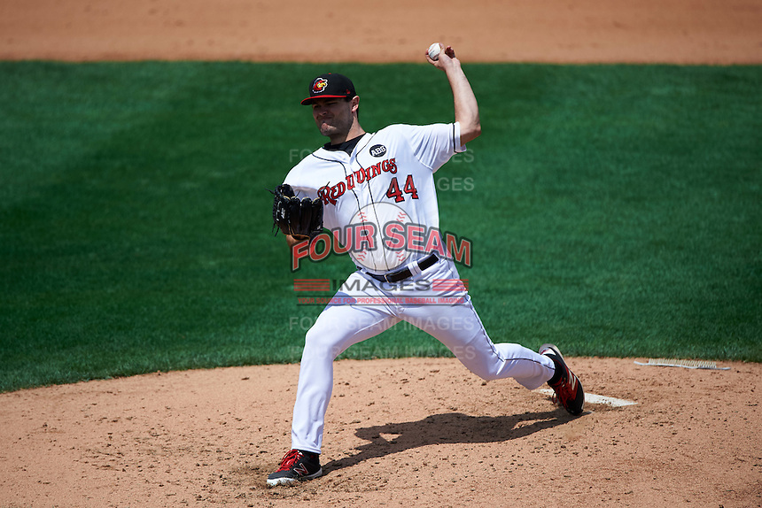 Rochester Red Wings starting pitcher Jason Wheeler (44) delivers a pitch during a game against the Columbus Clippers on June 16, 2016 at Frontier Field in Rochester, New York.  Rochester defeated Columbus 6-2.  (Mike Janes/Four Seam Images)