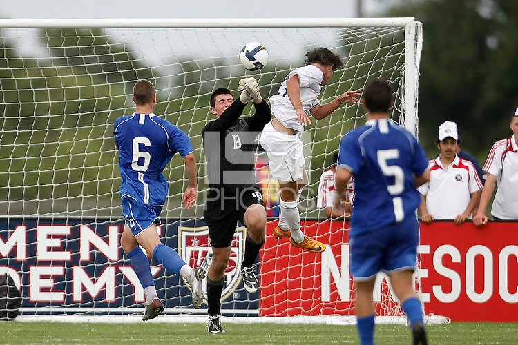 Academy Select Team goalkeeper Charlie Lyon (18) punches a ball clear. The US U-17 Men's National Team defeated the Development Academy Select Team 5-3 during day two of the US Soccer Development Academy  Spring Showcase in Sarasota, FL, on May 23, 2009.