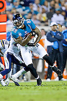 December 05, 2011:  Jacksonville Jaguars tight end Marcedes Lewis (89) runs after catching a pass during first half action between the Jacksonville Jaguars and the San Diego Chargers played at EverBank Field in Jacksonville, Florida.  ........