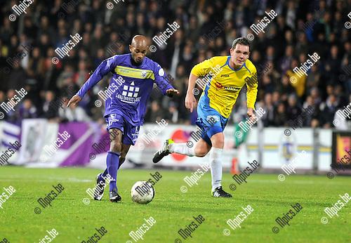 2014-01-04 / Voetbal / seizoen 2013-2014 / Beerschot-Wilrijk - Schriek / Djuric Ascencion (l. Beerschot-Wilrijk) met Yoeri De Roovere<br /><br />Foto: Mpics.be