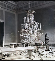 BNPS.co.uk (01202 558833)<br /> Pic:  ChiswickAuctions/BNPS<br /> <br /> The remains of Hitler's dining room inside the Reichstag, Berlin, May 1945.<br /> <br /> Remarkable previously unseen photos documenting the momentous closing stages of World War Two and its historic aftermath have come to light.<br /> <br /> They were taken by Sergeant Charles Hewitt, of the Army Film and Photographic Unit, who later went on to work for the Picture Post and the BBC.<br /> <br /> He was present at many of the important offensives of 1944 and '45 including the Battle of Monte Cassino during the Italian Campaign and the Allies advance into Germany following the D-Day invasion.
