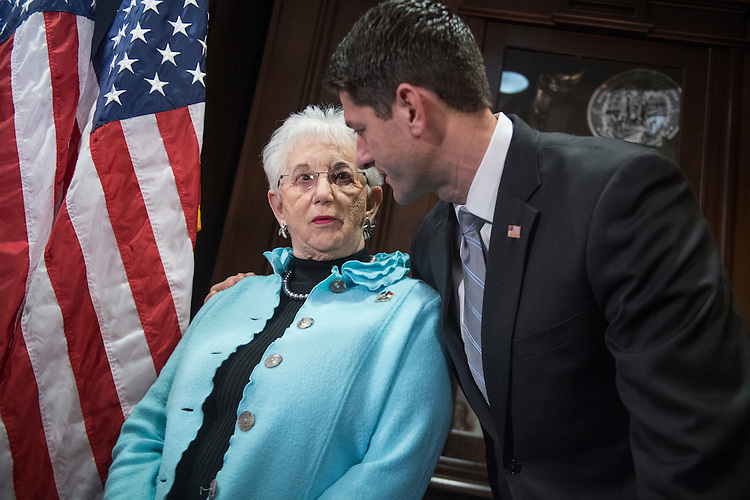 UNITED STATES - FEBRUARY 07: Speaker of the House Paul Ryan, R-Wis., talks with Rep. Virginia Foxx, R-N.C., during a news conference at the RNC after a meeting of the House Republican Conference, February 7, 2017. (Photo By Tom Williams/CQ Roll Call)