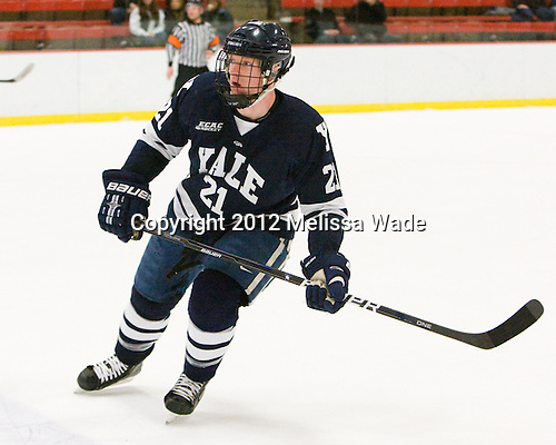 Colin Dueck (Yale - 21) - The Harvard University Crimson defeated the visiting Yale University Bulldogs 8-2 in the third game of their ECAC Quarterfinal matchup on Sunday, March 11, 2012, at Bright Hockey Center in Cambridge, Massachusetts.