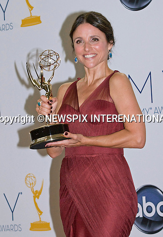 "JULIA LOUIS-DREYFUS (Veep) - 64TH PRIME TIME EMMY AWARDS.Nokia Theatre Live, Los Angelees_23/09/2012.Mandatory Credit Photo: ©Dias/NEWSPIX INTERNATIONAL..**ALL FEES PAYABLE TO: ""NEWSPIX INTERNATIONAL""**..IMMEDIATE CONFIRMATION OF USAGE REQUIRED:.Newspix International, 31 Chinnery Hill, Bishop's Stortford, ENGLAND CM23 3PS.Tel:+441279 324672  ; Fax: +441279656877.Mobile:  07775681153.e-mail: info@newspixinternational.co.uk"
