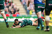 Telusa Veainu of Leicester Tigers scores a try in the first half. Aviva Premiership match, between Leicester Tigers and Northampton Saints on April 14, 2018 at Welford Road in Leicester, England. Photo by: Patrick Khachfe / JMP